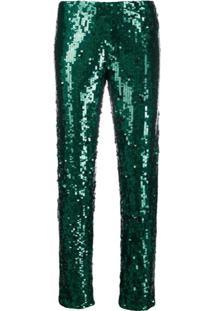 P.A.R.O.S.H. Calça Com Aplicação De Paetês - Verde
