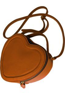 Bolsa Line Store Leather Coração Couro Caramelo