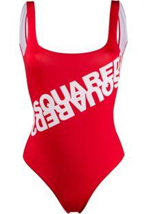 Dsquared2 Logo Print Swimsuit - Vermelho