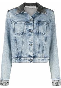 Stella Mccartney Jaqueta Cropped Jeans Bicolor - Preto