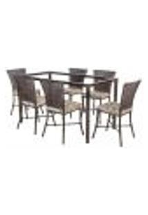 Jogo De Jantar 6 Cadeiras Turquia Pedra Ferro A12 E 1 Mesa Retangular Sem Tampo Ideal Para Área Externa Coberta