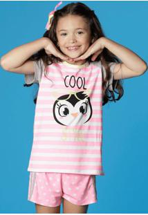 Pijama Pinguim- Rosa Claro & Brancopuket