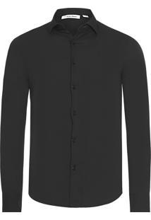Camisa Masculina Slim Básica - Preto