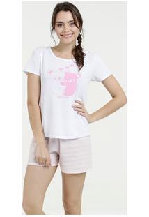 Pijama Feminino Short Doll Estampa Frontal Manga Curta Marisa