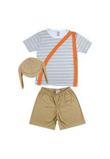 Fantasia Shorts E Camiseta Listrada Douvelin Marrom