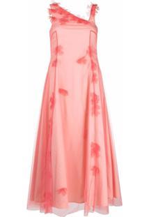 Molly Goddard Vestido Com Tule E Acabamento Floral - Rosa