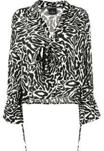 Pinko Blusa Com Estampa De Leopardo E Amarração Na Gola - Preto
