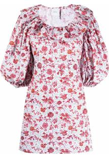 Patou Vestido Com Estampa Floral E Babados Na Gola - Branco