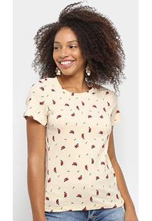 Camiseta Sofia Fashion Básica Coração Feminina - Feminino-Bege