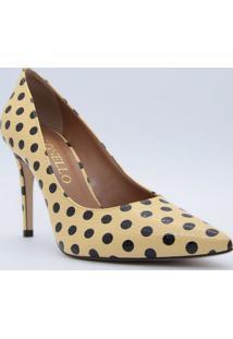 Scarpin Texturizado Poã¡- Amarelo Claro & Preto- Saltcecconello