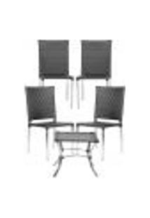 Jogo Cadeiras 4Un E Mesa De Centro Blumenau Para Edicula Jardim Area Varanda Descanso - Preto