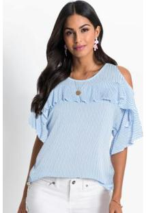 Blusa Ombros Vazados Com Babados Listrada Azul