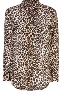 Equipment Blusa Slim Animal Print - Preto