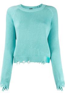 Pinko Suéter Com Destroyed - Verde