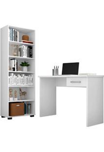 Conjunto Escritório Mesa 1 Gaveta Gávea E Estante Office Branco - Móve