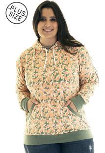 Blusão Konciny Moletom Canguru Plus Size 36520 Laranja