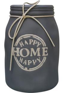 Vaso Happy Home Cinza Kasa Ideia