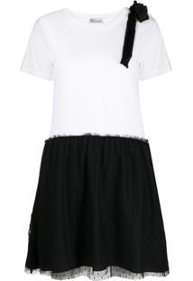 Redvalentino Vestido Bicolor Branco