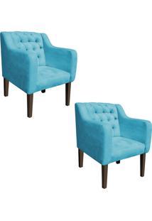 Kit 02 Poltrona Decorativa Lisa Suede Azul Tiffany - D'Rossi