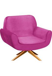 Poltrona D'Rossi Decorativa Estrela Suede Pink Com Base Giratória De Madeira