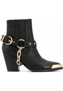 Versace Jeans Couture Bota Com Detalhe De Fivela - Preto