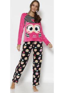 Pijama Soft Coruja Com Bordado- Rosa & Salmão- Puketpuket