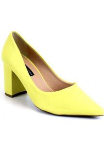 Scarpin Emporionaka Bloco Alto Feminino - Feminino-Amarelo