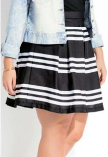 Saia Plus Size Curta Listras Quintess - Feminino-Preto+Branco