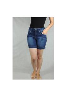 Bermuda Feminina Arbítrio Meia Coxa Azul Jeans