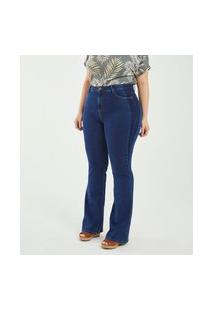 Calça Boot Cut Lisa Curve & Plus Size | Ashua Curve E Plus Size | Azul | 54
