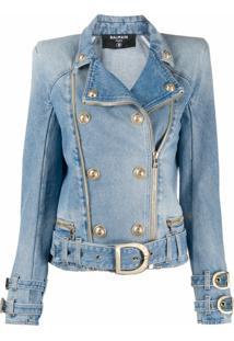 Balmain Jaqueta Jeans Com Abotoamento Duplo - Azul