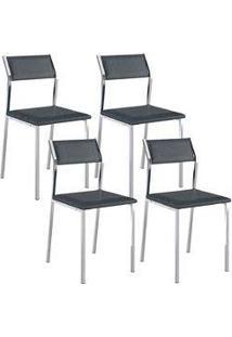 Cadeira 1709 Cromada 04 Unidades Jeans Carraro