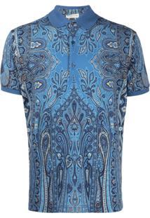 Etro Camisa Polo Com Estampa Paisley - Azul
