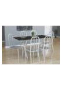 Conjunto De Mesa Miame Com 6 Cadeiras Madri Branco E Preto Listrado