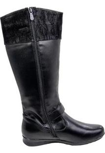 Bota Cano Alto Moon City Beautiful Feminina - Feminino-Preto