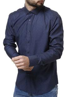 Camisa Manga Longa Vivacci Masculina - Masculino-Marinho