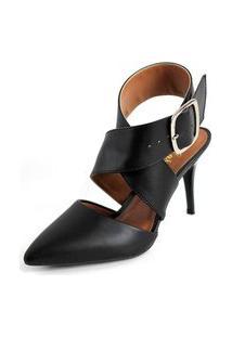 Sandalia Ellas Bico Fino Salto Medio