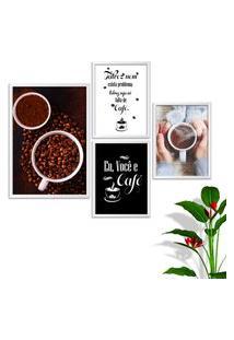 Kit Conjunto 4 Quadro Oppen House S Frases Eu Você E Café Lojas Cafeteria Xícaras Gráos Moldura Branca Decorativo Interiores Sem Vidro