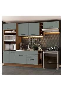 Cozinha Completa Madesa Agata 290002 Com Armário E Balcão (Sem Tampo E Pia) Rustic/Cinza Cor:Rustic/Cinza