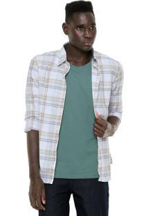 Camisa Hering Slim Xadrez Bege