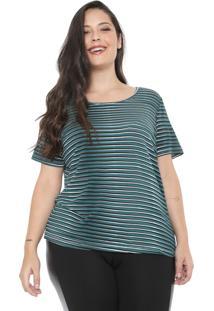 Blusa Cativa Plus Listrada Verde/Branca