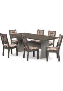 Conjunto Sala De Jantar Mesa Tampo Em Mdf E 6 Cadeiras Paris Móveis Meneghetti Teka/Wengue/A80