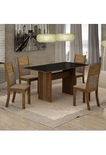 Conjunto De Mesa De Jantar Florença I Com 4 Cadeiras Havaí Suede Preto E Cappuccino