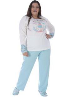 Conjunto Pijama Victory Plus Size Inverno Feminino - Feminino-Verde
