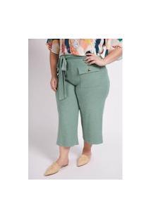 Calça Pantacourt Moletom Com Bolsos Plus Size Verde Calça Pantacourt Moletom Com Bolsos Plus Size Verde G Kaue Plus Size