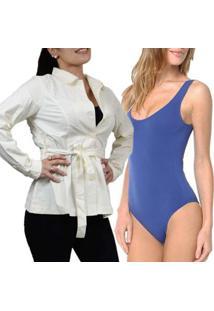Kit Casaco Trench Coat Fino Meia Estação + Body Lupo Trend Feminino - Feminino-Azul
