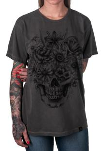 Camiseta Artseries Caveira Com Flores Cinza