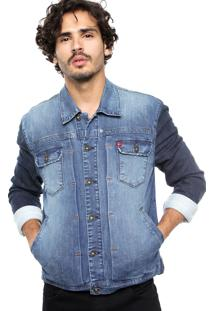 Jaqueta Jeans Forum Bolsos Azul