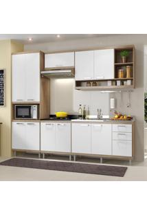 Cozinha Compacta 11 Portas Com Balcão Sem Pia 5808 Branco/Argila - Multimóveis