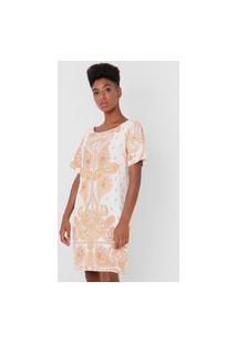 Vestido Lança Perfume Curto Arabescos Branco/Laranja